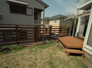 変形ウリンデッキ+庭フェンス1